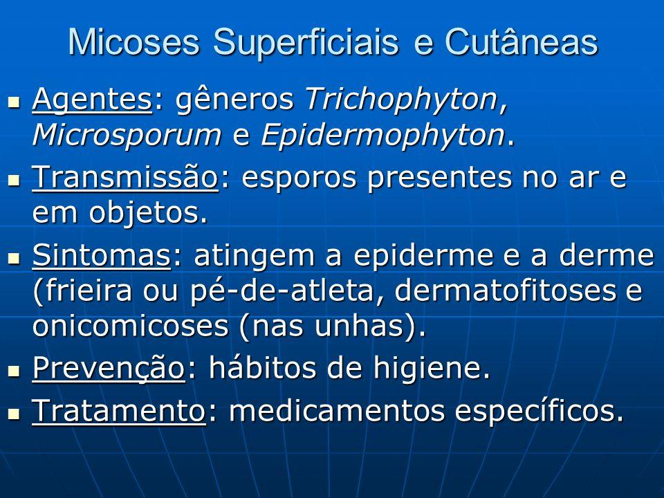 Micoses Superficiais e Cutâneas Agentes: gêneros Trichophyton, Microsporum e Epidermophyton. Agentes: gêneros Trichophyton, Microsporum e Epidermophyt