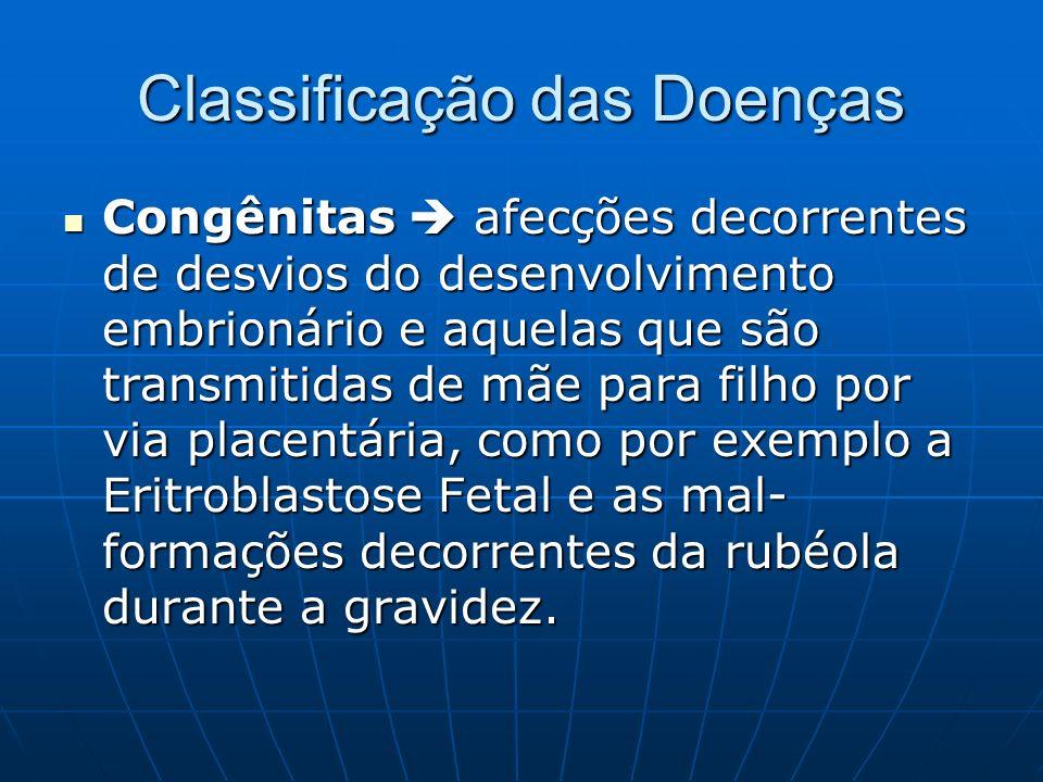 Classificação das Doenças Congênitas afecções decorrentes de desvios do desenvolvimento embrionário e aquelas que são transmitidas de mãe para filho p