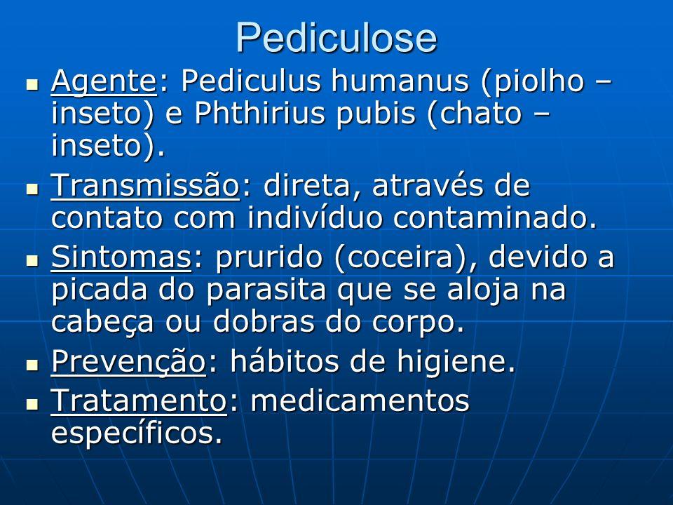 Pediculose Agente: Pediculus humanus (piolho – inseto) e Phthirius pubis (chato – inseto). Agente: Pediculus humanus (piolho – inseto) e Phthirius pub