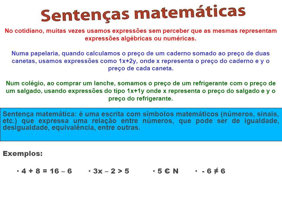 No cotidiano, muitas vezes usamos expressões sem perceber que as mesmas representam expressões algébricas ou numéricas. Numa papelaria, quando calcula