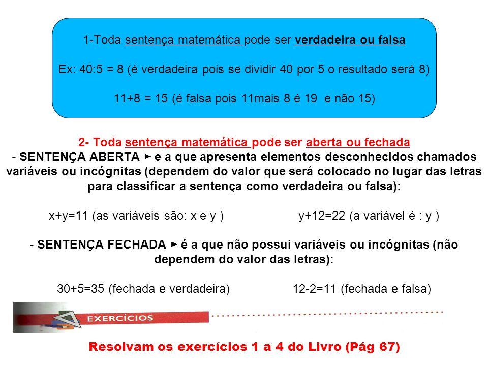 1-Toda sentença matemática pode ser verdadeira ou falsa Ex: 40:5 = 8 (é verdadeira pois se dividir 40 por 5 o resultado será 8) 11+8 = 15 (é falsa pois 11mais 8 é 19 e não 15) 2- Toda sentença matemática pode ser aberta ou fechada - SENTENÇA ABERTA e a que apresenta elementos desconhecidos chamados variáveis ou incógnitas (dependem do valor que será colocado no lugar das letras para classificar a sentença como verdadeira ou falsa): x+y=11 (as variáveis são: x e y ) y+12=22 (a variável é : y ) - SENTENÇA FECHADA é a que não possui variáveis ou incógnitas (não dependem do valor das letras): 30+5=35 (fechada e verdadeira) 12-2=11 (fechada e falsa) Resolvam os exercícios 1 a 4 do Livro (Pág 67)