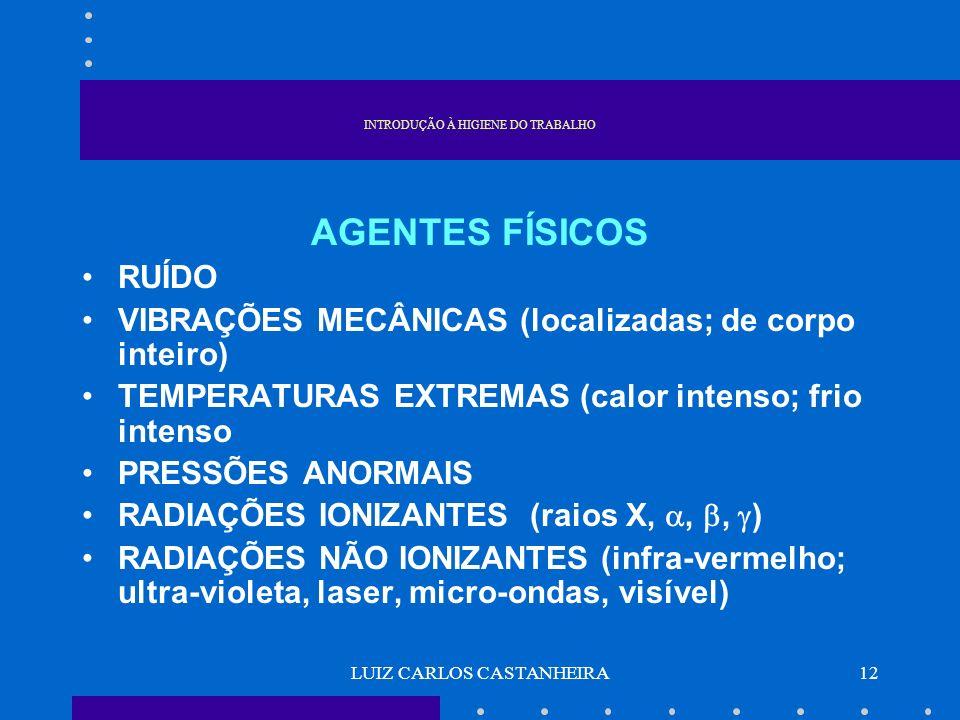 LUIZ CARLOS CASTANHEIRA12 INTRODUÇÃO À HIGIENE DO TRABALHO AGENTES FÍSICOS RUÍDO VIBRAÇÕES MECÂNICAS (localizadas; de corpo inteiro) TEMPERATURAS EXTR