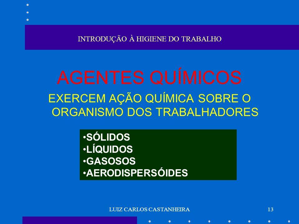 LUIZ CARLOS CASTANHEIRA13 INTRODUÇÃO À HIGIENE DO TRABALHO AGENTES QUÍMICOS EXERCEM AÇÃO QUÍMICA SOBRE O ORGANISMO DOS TRABALHADORES SÓLIDOS LÍQUIDOS