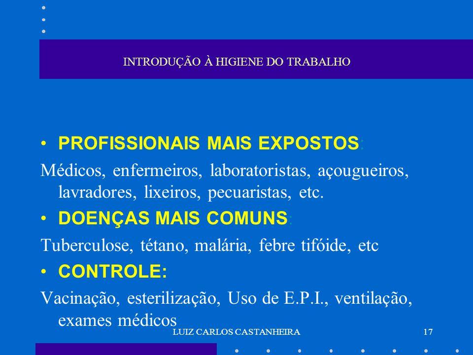 LUIZ CARLOS CASTANHEIRA17 INTRODUÇÃO À HIGIENE DO TRABALHO PROFISSIONAIS MAIS EXPOSTOS: Médicos, enfermeiros, laboratoristas, açougueiros, lavradores,