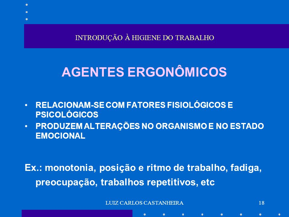 LUIZ CARLOS CASTANHEIRA18 INTRODUÇÃO À HIGIENE DO TRABALHO AGENTES ERGONÔMICOS RELACIONAM-SE COM FATORES FISIOLÓGICOS E PSICOLÓGICOS PRODUZEM ALTERAÇÕ