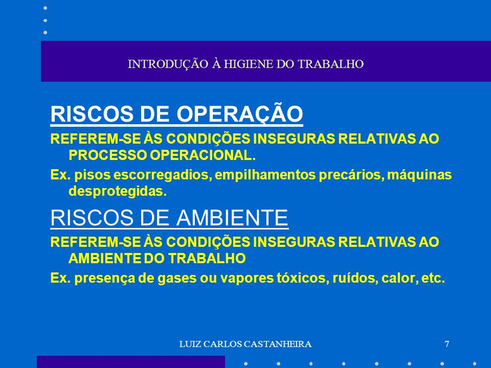 LUIZ CARLOS CASTANHEIRA7 INTRODUÇÃO À HIGIENE DO TRABALHO RISCOS DE OPERAÇÃO REFEREM-SE ÀS CONDIÇÕES INSEGURAS RELATIVAS AO PROCESSO OPERACIONAL. Ex.