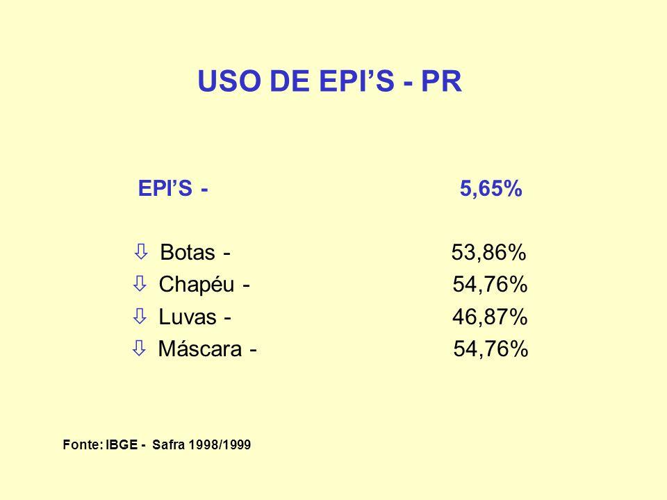 USO DE EPIS - PR EPIS - 5,65% òBotas - 53,86% òChapéu - 54,76% òLuvas - 46,87% òMáscara - 54,76% Fonte: IBGE - Safra 1998/1999