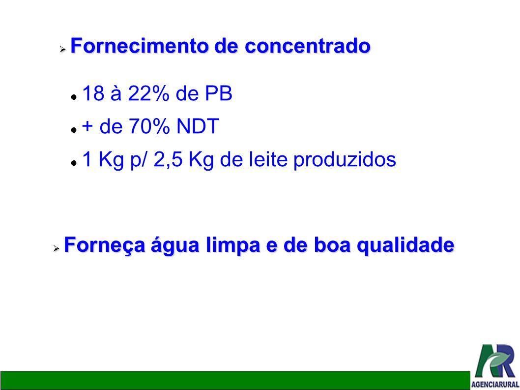 Fornecimento de concentrado Fornecimento de concentrado 18 à 22% de PB + de 70% NDT 1 Kg p/ 2,5 Kg de leite produzidos Forneça água limpa e de boa qua