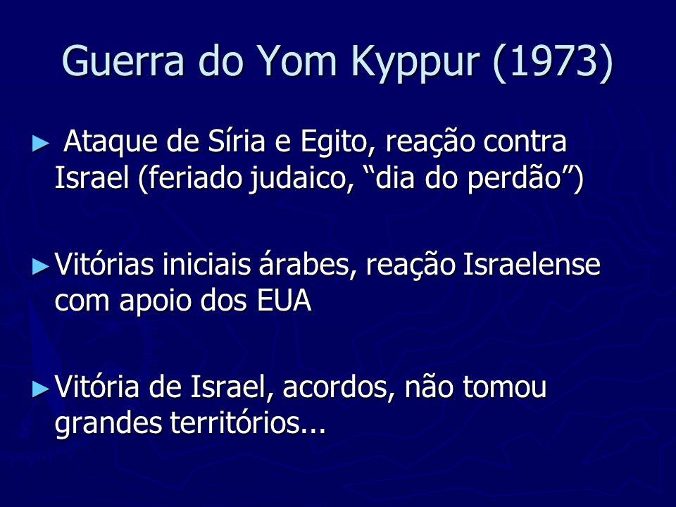Acordo de Camp David (1978) Egito reconheceu oficialmente o Estado de Israel, em troca da Península do Sinai Egito reconheceu oficialmente o Estado de Israel, em troca da Península do Sinai 1979 – Egito é expulso da Liga Árabe 1979 – Egito é expulso da Liga Árabe 1981 – presidente egípcio é assassinado 1981 – presidente egípcio é assassinado