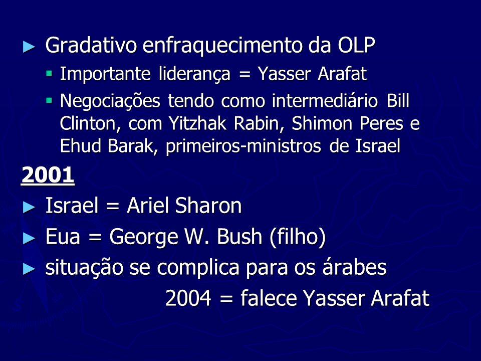 Gradativo enfraquecimento da OLP Gradativo enfraquecimento da OLP Importante liderança = Yasser Arafat Importante liderança = Yasser Arafat Negociaçõe