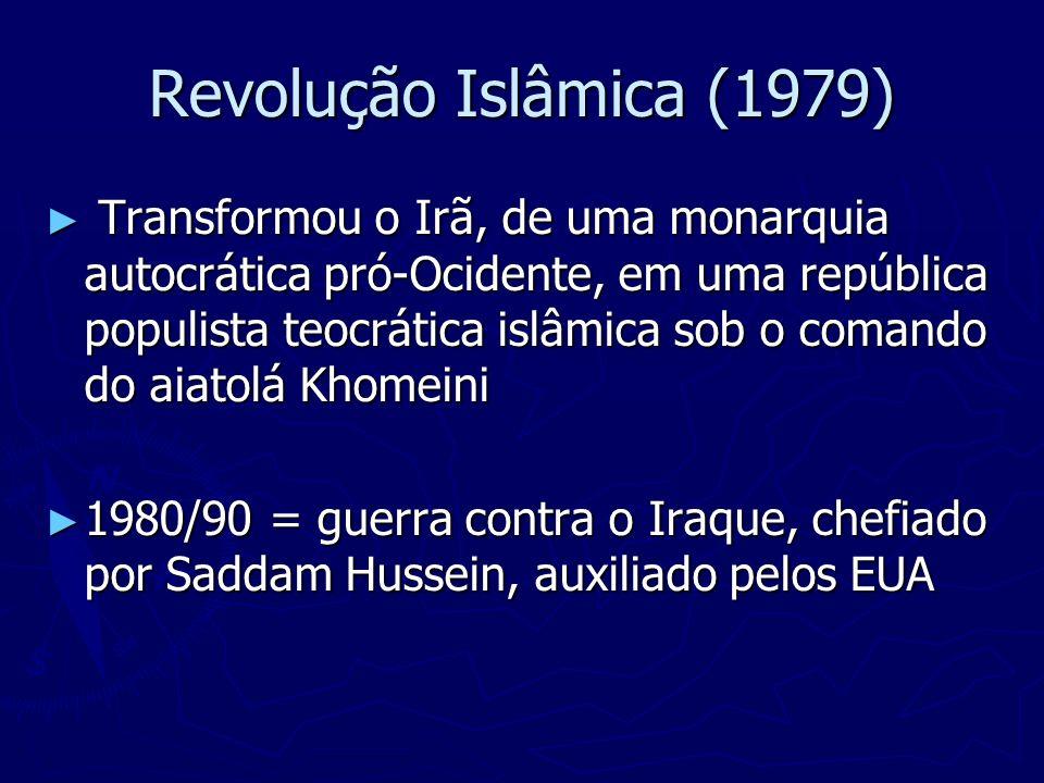 Revolução Islâmica (1979) Transformou o Irã, de uma monarquia autocrática pró-Ocidente, em uma república populista teocrática islâmica sob o comando d