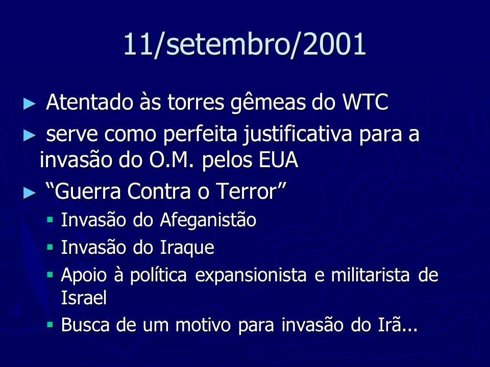 11/setembro/2001 Atentado às torres gêmeas do WTC Atentado às torres gêmeas do WTC serve como perfeita justificativa para a invasão do O.M. pelos EUA