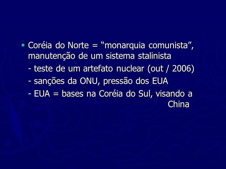 Coréia do Norte = monarquia comunista, manutenção de um sistema stalinista Coréia do Norte = monarquia comunista, manutenção de um sistema stalinista
