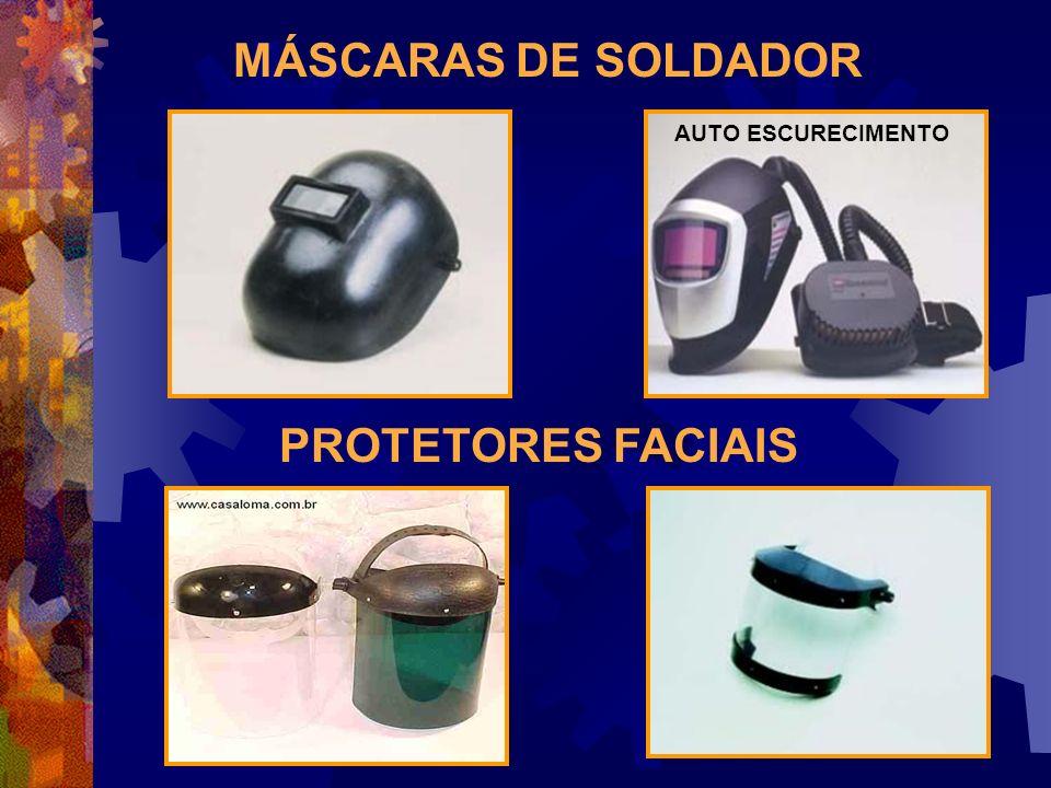 TIPOS DE EQUIPAMENTOS VISOR INCOLOR DE POLICARBONATO: proteção de corpos sólidos, respingos de produtos químicos. Nas radiações luminosas usa-se visor