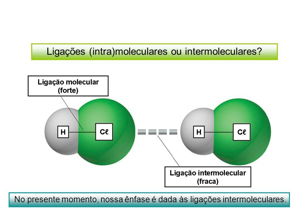 Ligações (intra)moleculares ou intermoleculares? No presente momento, nossa ênfase é dada às ligações intermoleculares.