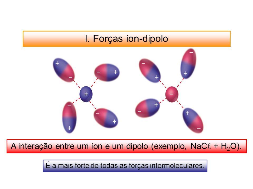 I. Forças íon-dipolo A interação entre um íon e um dipolo (exemplo, NaC + H 2 O). É a mais forte de todas as forças intermoleculares.