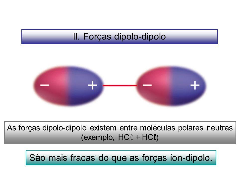 II. Forças dipolo-dipolo As forças dipolo-dipolo existem entre moléculas polares neutras (exemplo, HC + HC) São mais fracas do que as forças íon-dipol
