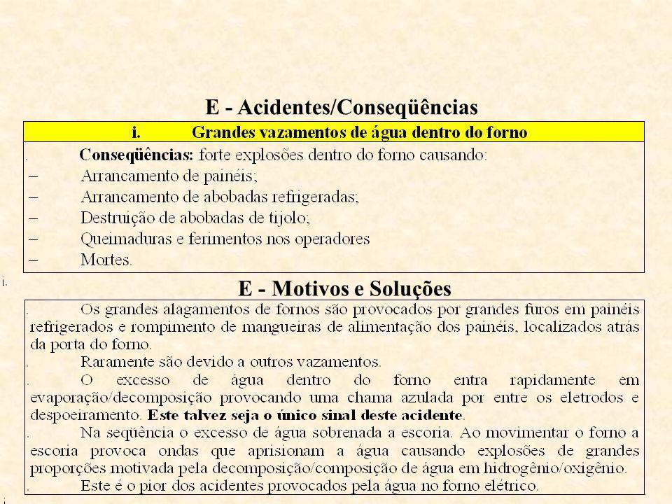 E - Acidentes/Conseqüências E - Motivos e Soluções