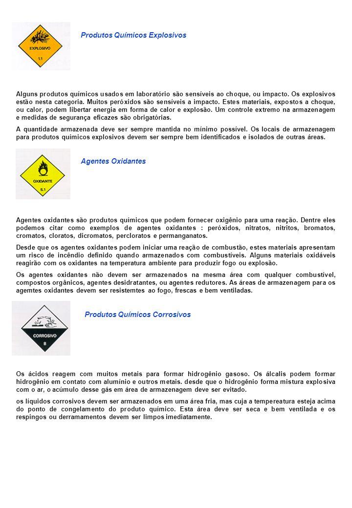 Produtos Químicos Explosivos Alguns produtos químicos usados em laboratório são sensíveis ao choque, ou impacto. Os explosivos estão nesta categoria.