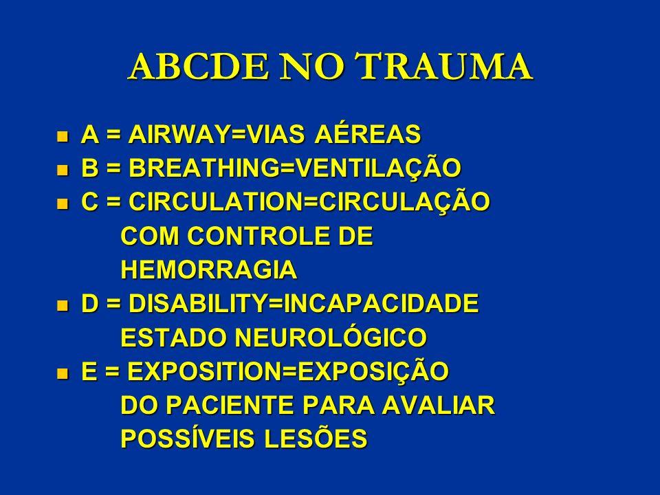 ABCDE NO TRAUMA A = AIRWAY=VIAS AÉREAS A = AIRWAY=VIAS AÉREAS B = BREATHING=VENTILAÇÃO B = BREATHING=VENTILAÇÃO C = CIRCULATION=CIRCULAÇÃO C = CIRCULA