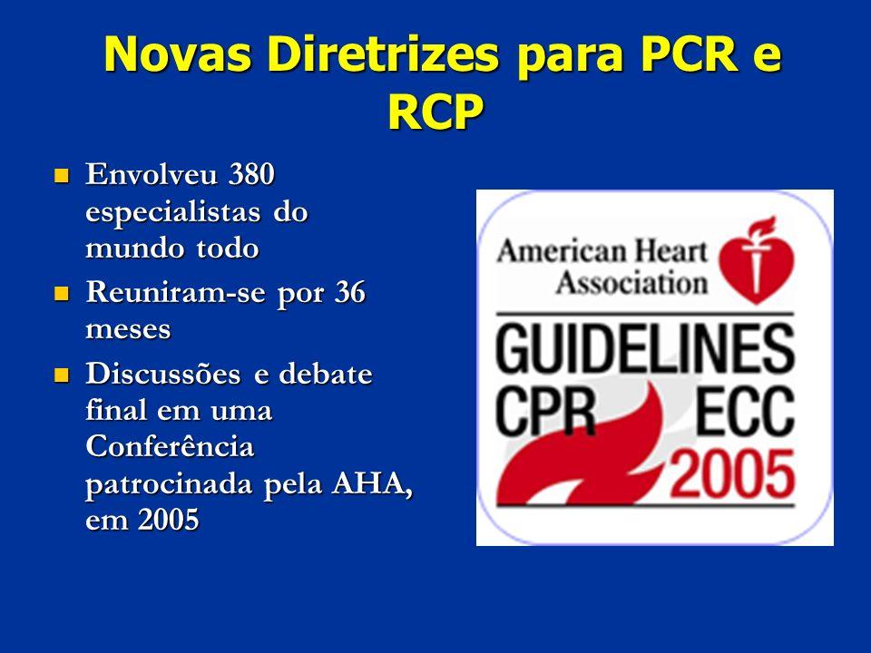 Novas Diretrizes para PCR e RCP Novas Diretrizes para PCR e RCP Envolveu 380 especialistas do mundo todo Envolveu 380 especialistas do mundo todo Reun
