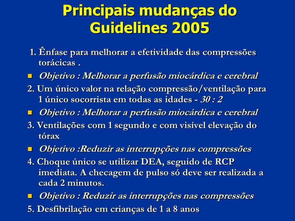 Principais mudanças do Guidelines 2005 1. Ênfase para melhorar a efetividade das compressões torácicas. 1. Ênfase para melhorar a efetividade das comp