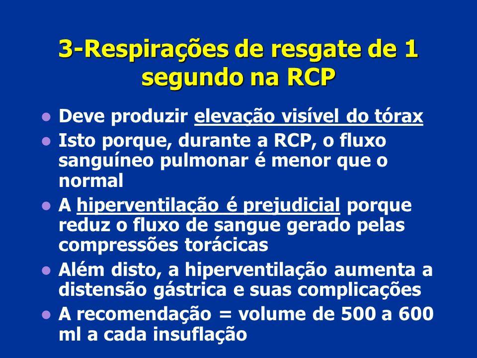 3-Respirações de resgate de 1 segundo na RCP Deve produzir elevação visível do tórax Isto porque, durante a RCP, o fluxo sanguíneo pulmonar é menor qu