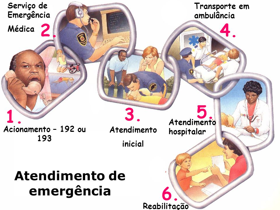 6. 1. 4. 5. 3. 2. Atendimento de emergência Acionamento – 192 ou 193 Atendimento hospitalar Reabilitação Transporte em ambulância Atendimento inicial