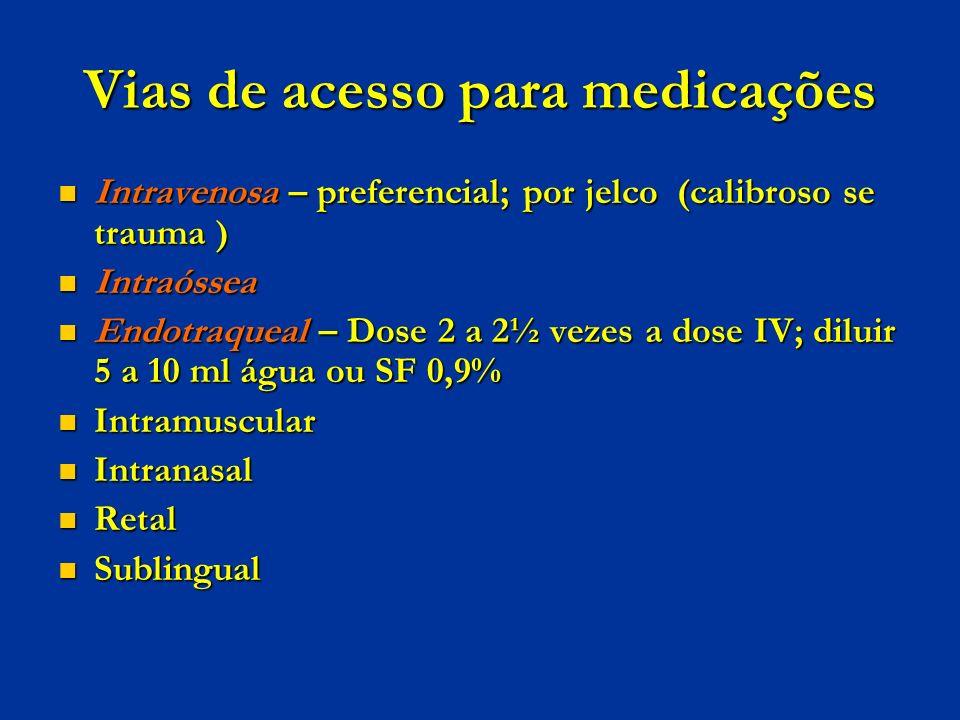 Vias de acesso para medicações Intravenosa – preferencial; por jelco (calibroso se trauma ) Intravenosa – preferencial; por jelco (calibroso se trauma