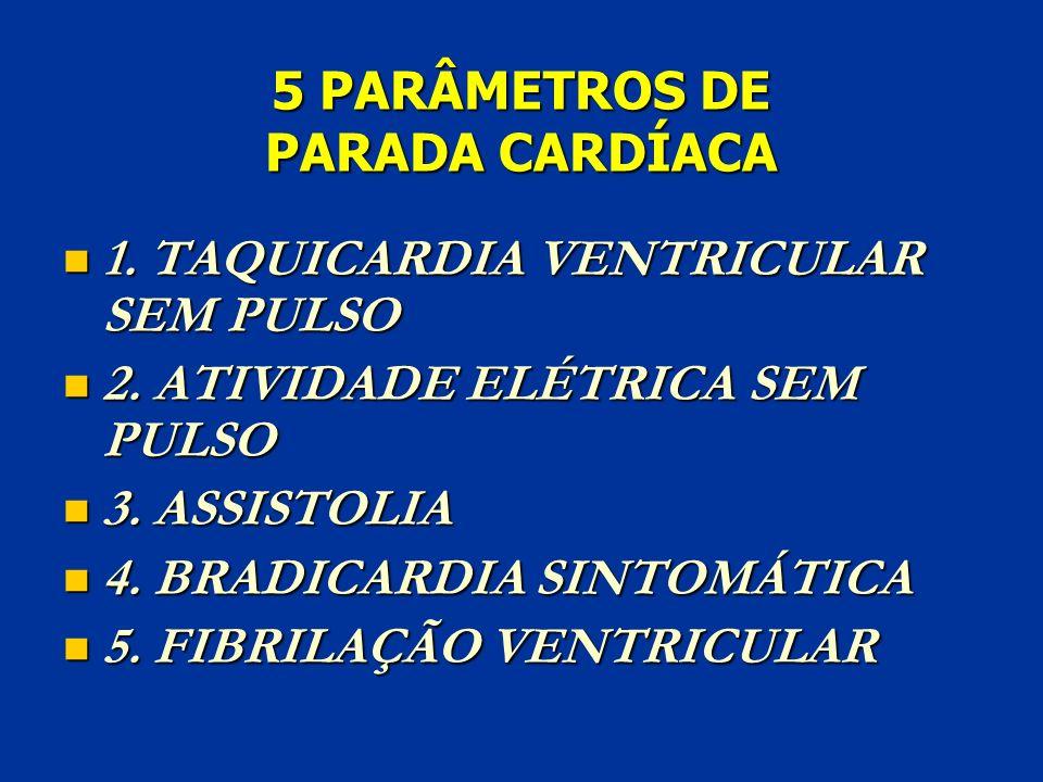 5 PARÂMETROS DE PARADA CARDÍACA 1. TAQUICARDIA VENTRICULAR SEM PULSO 1. TAQUICARDIA VENTRICULAR SEM PULSO 2. ATIVIDADE ELÉTRICA SEM PULSO 2. ATIVIDADE
