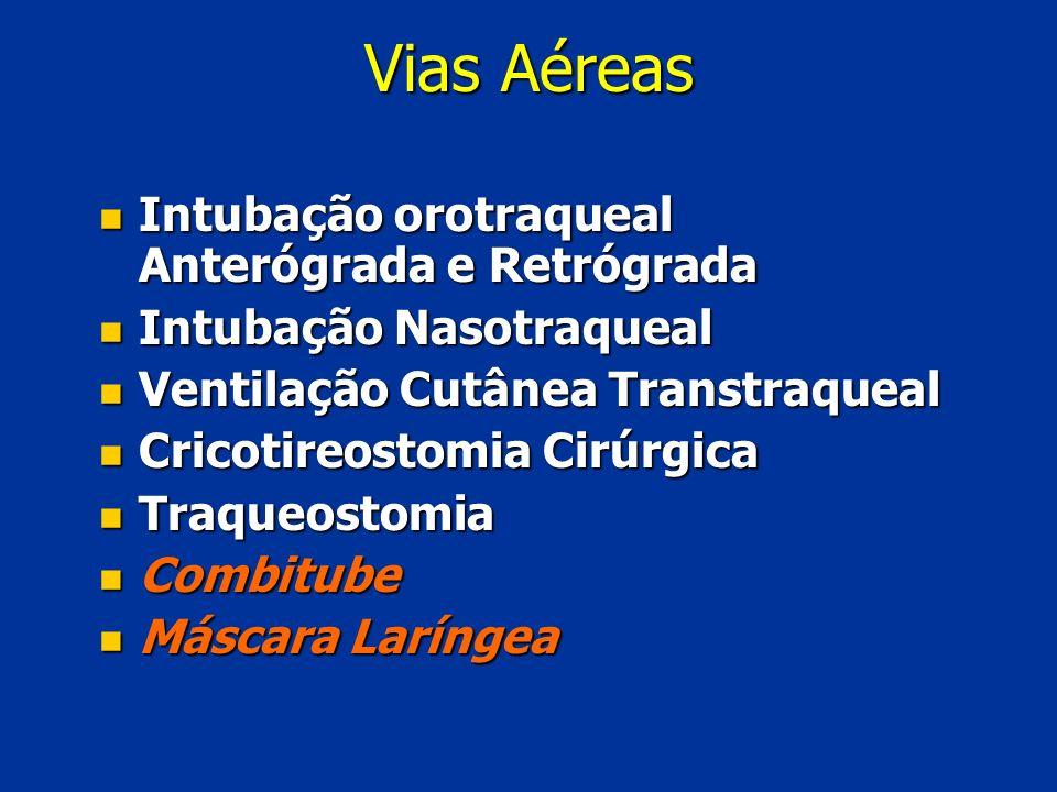 Vias Aéreas Intubação orotraqueal Anterógrada e Retrógrada Intubação orotraqueal Anterógrada e Retrógrada Intubação Nasotraqueal Intubação Nasotraquea