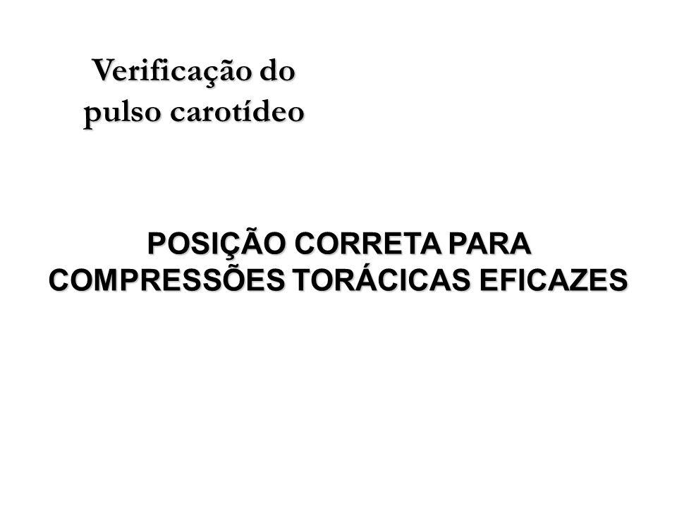 Verificação do pulso carotídeo POSIÇÃO CORRETA PARA COMPRESSÕES TORÁCICAS EFICAZES