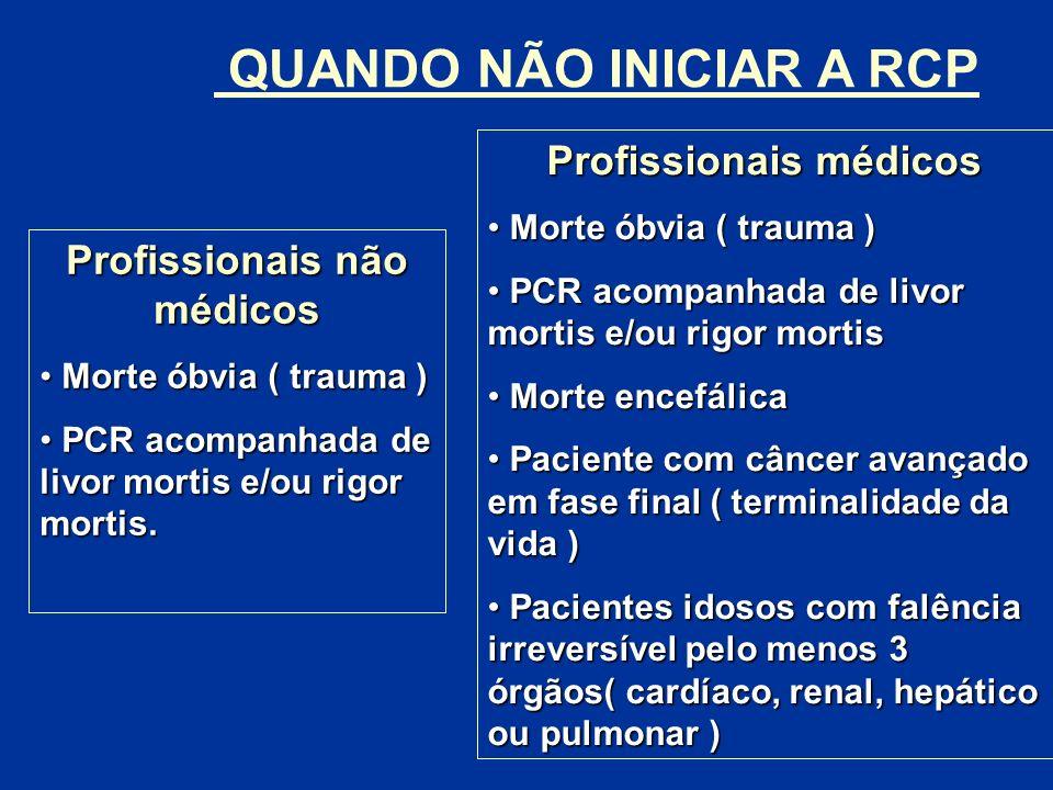 QUANDO NÃO INICIAR A RCP Profissionais não médicos Morte óbvia ( trauma ) Morte óbvia ( trauma ) PCR acompanhada de livor mortis e/ou rigor mortis. PC