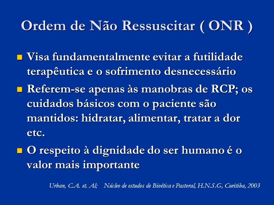 Ordem de Não Ressuscitar ( ONR ) Visa fundamentalmente evitar a futilidade terapêutica e o sofrimento desnecessário Visa fundamentalmente evitar a fut
