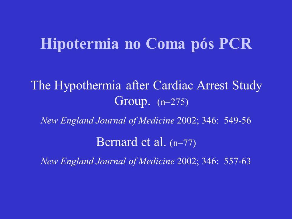 Hipotermia no Coma pós PCR The Hypothermia after Cardiac Arrest Study Group. (n=275) New England Journal of Medicine 2002; 346: 549-56 Bernard et al.