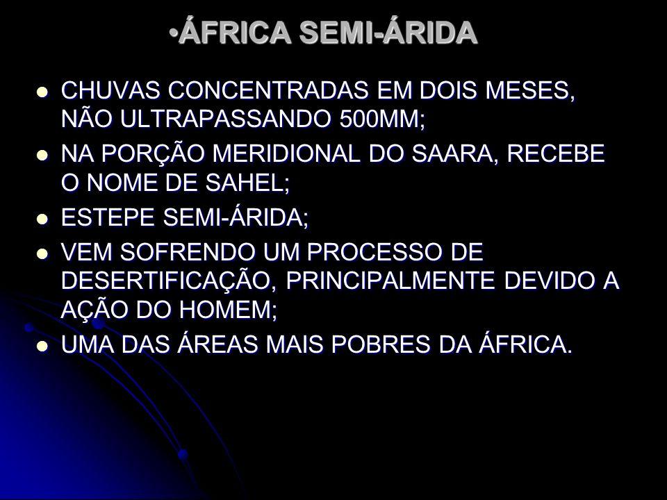 ÁFRICA SEMI-ÁRIDAÁFRICA SEMI-ÁRIDA CHUVAS CONCENTRADAS EM DOIS MESES, NÃO ULTRAPASSANDO 500MM; CHUVAS CONCENTRADAS EM DOIS MESES, NÃO ULTRAPASSANDO 50