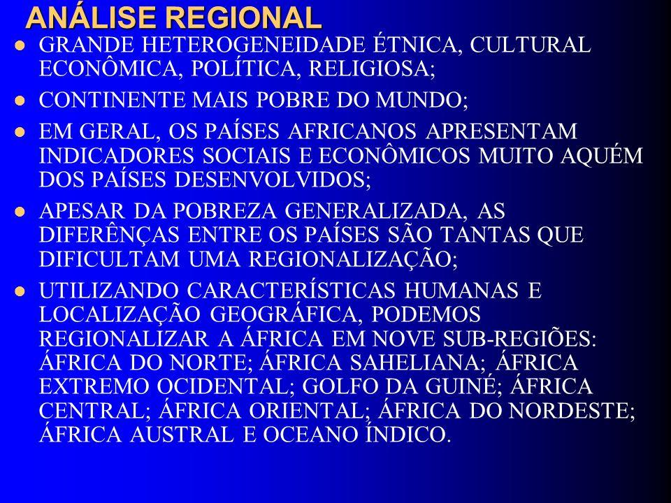 ANÁLISE REGIONAL GRANDE HETEROGENEIDADE ÉTNICA, CULTURAL ECONÔMICA, POLÍTICA, RELIGIOSA; CONTINENTE MAIS POBRE DO MUNDO; EM GERAL, OS PAÍSES AFRICANOS