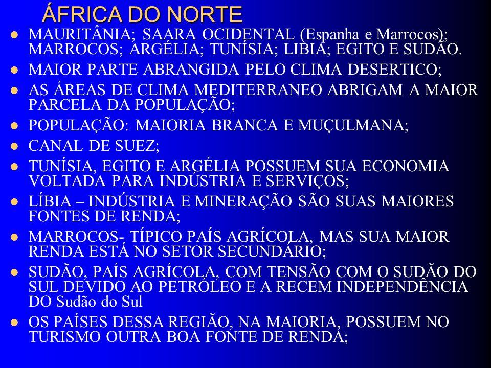 ÁFRICA DO NORTE MAURITÂNIA; SAARA OCIDENTAL (Espanha e Marrocos); MARROCOS; ARGÉLIA; TUNÍSIA; LIBIA; EGITO E SUDÃO. MAIOR PARTE ABRANGIDA PELO CLIMA D