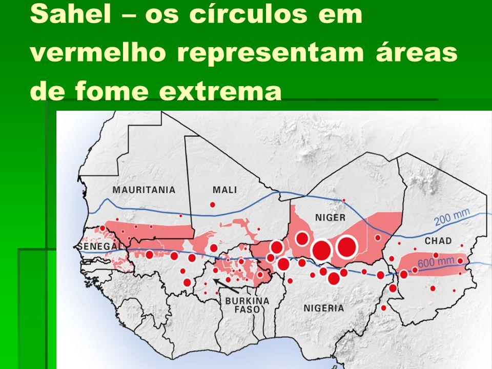Sahel – os círculos em vermelho representam áreas de fome extrema