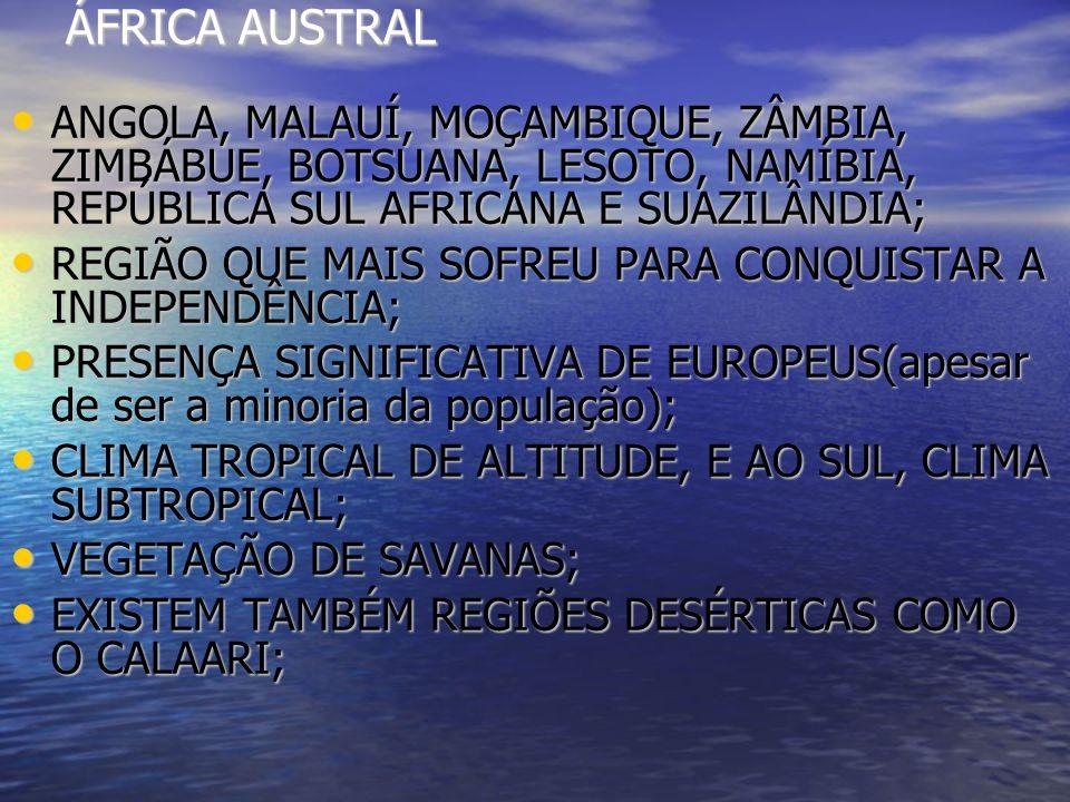 ÁFRICA AUSTRAL ANGOLA, MALAUÍ, MOÇAMBIQUE, ZÂMBIA, ZIMBÁBUE, BOTSUANA, LESOTO, NAMÍBIA, REPÚBLICA SUL AFRICANA E SUAZILÂNDIA; ANGOLA, MALAUÍ, MOÇAMBIQ