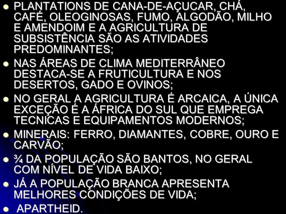 PLANTATIONS DE CANA-DE-AÇUCAR, CHÁ, CAFÉ, OLEOGINOSAS, FUMO, ALGODÃO, MILHO E AMENDOIM E A AGRICULTURA DE SUBSISTÊNCIA SÃO AS ATIVIDADES PREDOMINANTES