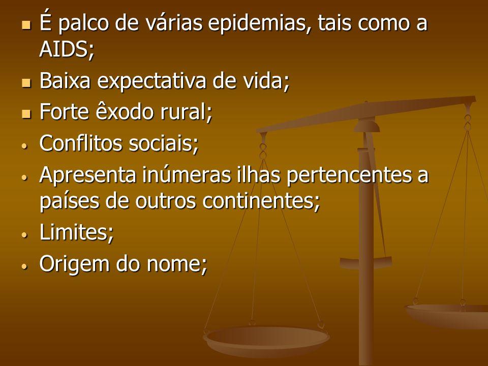 É palco de várias epidemias, tais como a AIDS; É palco de várias epidemias, tais como a AIDS; Baixa expectativa de vida; Baixa expectativa de vida; Fo