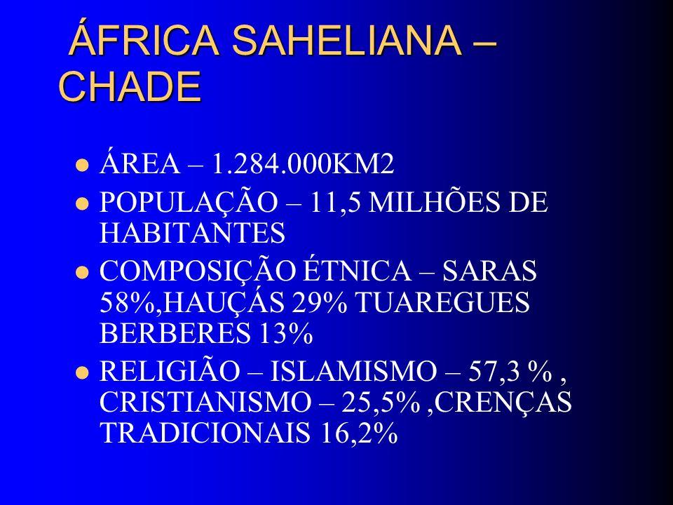ÁFRICA SAHELIANA – CHADE ÁFRICA SAHELIANA – CHADE ÁREA – 1.284.000KM2 POPULAÇÃO – 11,5 MILHÕES DE HABITANTES COMPOSIÇÃO ÉTNICA – SARAS 58%,HAUÇÁS 29%