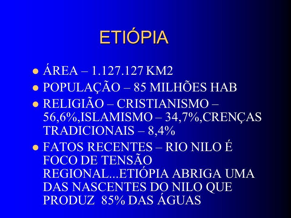 ETIÓPIA ETIÓPIA ÁREA – 1.127.127 KM2 POPULAÇÃO – 85 MILHÕES HAB RELIGIÃO – CRISTIANISMO – 56,6%,ISLAMISMO – 34,7%,CRENÇAS TRADICIONAIS – 8,4% FATOS RE