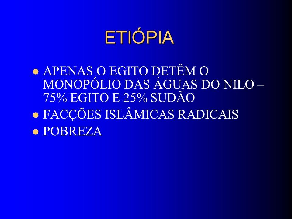 ETIÓPIA ETIÓPIA APENAS O EGITO DETÊM O MONOPÓLIO DAS ÁGUAS DO NILO – 75% EGITO E 25% SUDÃO FACÇÕES ISLÂMICAS RADICAIS POBREZA
