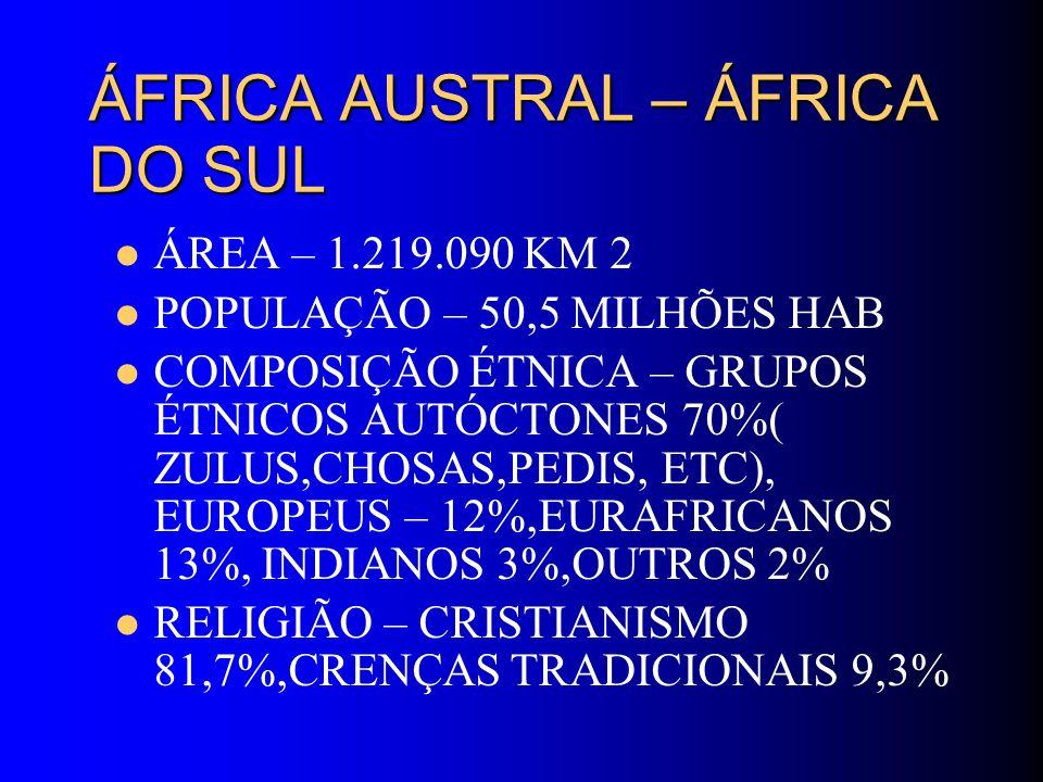 ÁFRICA AUSTRAL – ÁFRICA DO SUL ÁREA – 1.219.090 KM 2 POPULAÇÃO – 50,5 MILHÕES HAB COMPOSIÇÃO ÉTNICA – GRUPOS ÉTNICOS AUTÓCTONES 70%( ZULUS,CHOSAS,PEDI