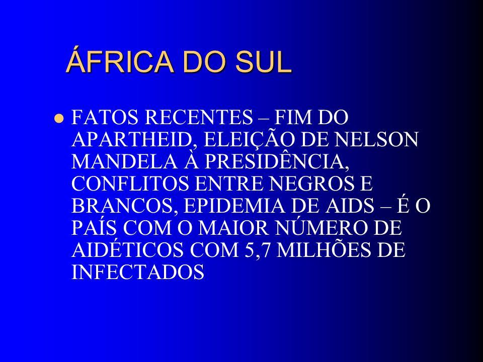 ÁFRICA DO SUL ÁFRICA DO SUL FATOS RECENTES – FIM DO APARTHEID, ELEIÇÃO DE NELSON MANDELA À PRESIDÊNCIA, CONFLITOS ENTRE NEGROS E BRANCOS, EPIDEMIA DE