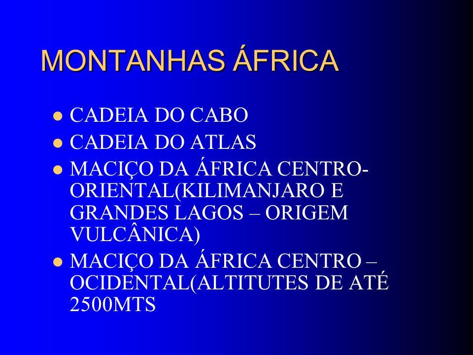 MONTANHAS ÁFRICA CADEIA DO CABO CADEIA DO ATLAS MACIÇO DA ÁFRICA CENTRO- ORIENTAL(KILIMANJARO E GRANDES LAGOS – ORIGEM VULCÂNICA) MACIÇO DA ÁFRICA CEN