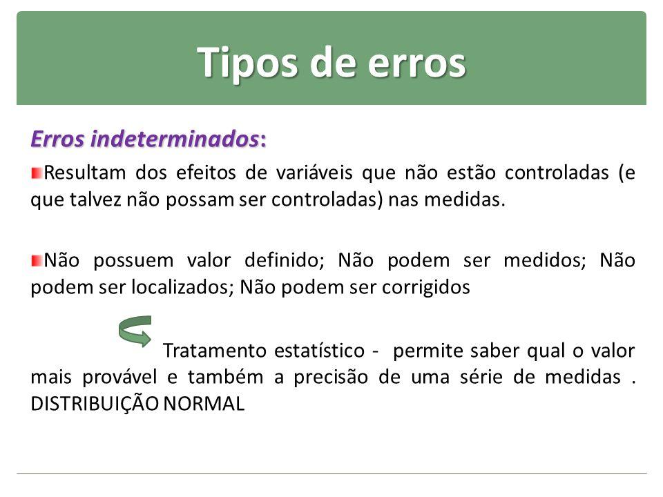 Tipos de erros Erros indeterminados: Resultam dos efeitos de variáveis que não estão controladas (e que talvez não possam ser controladas) nas medidas