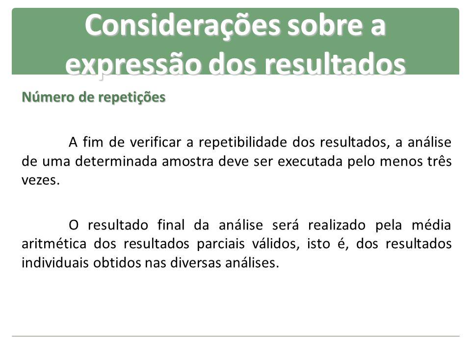 Número de repetições A fim de verificar a repetibilidade dos resultados, a análise de uma determinada amostra deve ser executada pelo menos três vezes